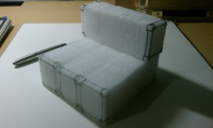 Styrofoam blocks a made for quick and configuration mock-ups and sketches.