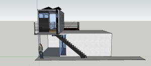 Container Home Concept - west view showing the steel and concrete staircase connecting to the studio balcony and entrance.