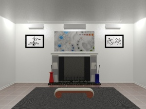 Wide-angle view of the fireplace art display.  Art has been superimposed and a piece of furniture has been added.