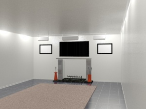 A simplified rendering featuring a custom fireplace.  No art or furniture has been added.